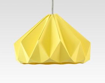 paper origami lamp Chestnut Autumn Yellow. Pendant lighting for bedroom or living room.
