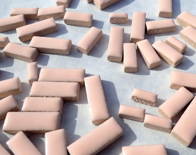 """Pink Mini Rectangles Mosaic Tiles - 50g Ceramic in Mix of 3 Sizes 3/8"""" and 5/8"""" and 3/4"""" in Light Pale Pink"""