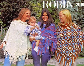 Vintage Crochet Poncho and Knitted Ponchos Pattern PDF 726 from WonkyZebra