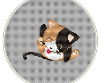 Cute Cat cross stitch pattern, Counted cross stitch pattern, funny cross stith, Instant Download, Free shipping, Cross-Stitch PDF, MCS083