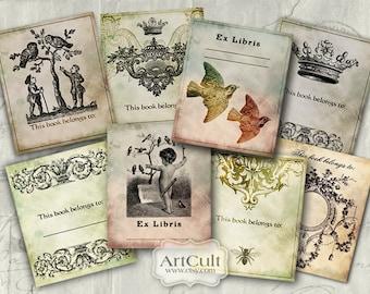 Digital Collage Sheet EX LIBRIS BOOKPLATES Printable Download Vintage ephemera paper goods scrapbooking Paper ex-libris ArtCult graphics