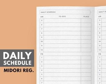 Midori Insert, Daily Schedule Printable, Midori Refill, Midori Daily Planner, To do list midori, Midori travelers notebook inserts printable