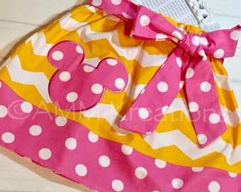 SAMPLE SALE Yellow Chevron and Pink Polka Dots With Minnie Applique Skirt