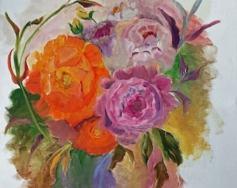 Painting Florals in Oil 16X20 Flowers Painting