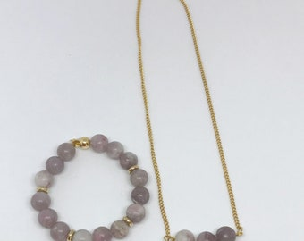 Duo necklace and bracelet Quartz lilac + stainless steel