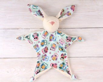 Newborn Natural Toy for First Day Cotton Teething Baby Toy for Comfort of Newborn Baby's First Friend Animal Toy from Plush Bunny Sleepsuit