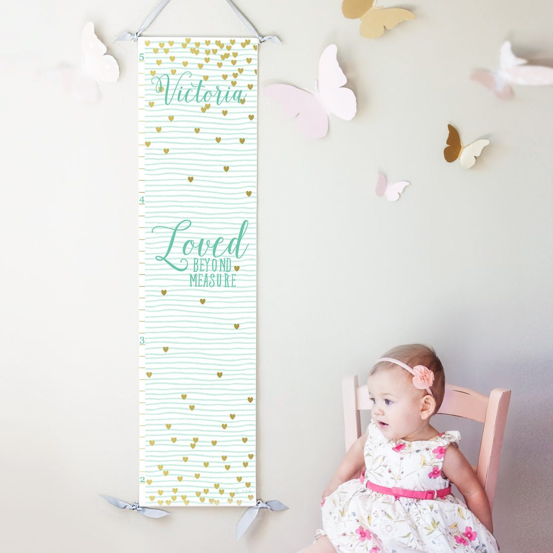 Personalized loved beyond measure canvas growth chart with mint personalized loved beyond measure canvas growth chart with mint stripes and gold hearts nvjuhfo Gallery