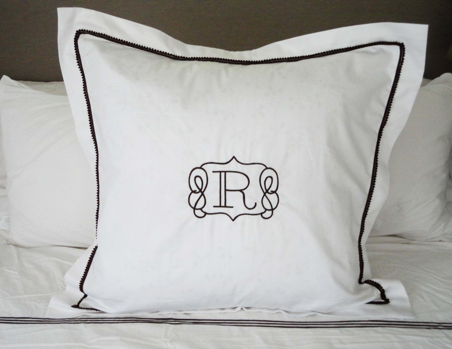 monogram euro pillow sham with mini pom pom trim monogram. Black Bedroom Furniture Sets. Home Design Ideas