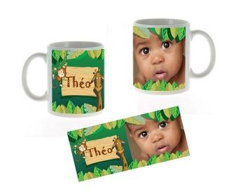 Mug personalized child Jungle animals, zoo, monkey, giraffe, personalized photo gift, Kids Christmas gift personalized, unique