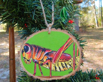 Grasshopper Hand painted wood slice ornament