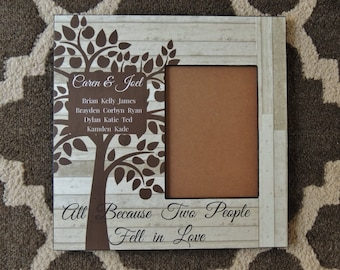 Personalized Family Tree Picture Frame | Personalized Family Frame | All Because Two People Fell in Love | Like Branches on a Tree Frame