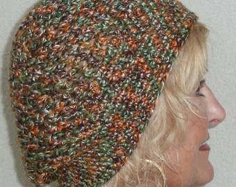 Women's winter fashion hat, cute winter hat in green and orange, creative slouchy hat with style, unique and original crochet winter hat