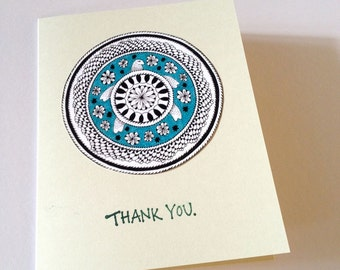 Thank You Cards - Turtle - Mandala - Handmade Stamped Card