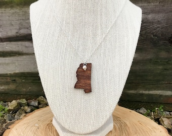 Mississippi, Mississippi State Necklace, Wooden State Necklace, Mississippi Jewelry,  Personalized Gift, Going Away Gift