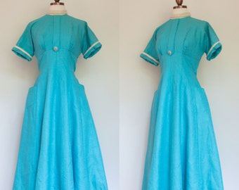 vintage 1950s turquoise party dress / 50s ice blue brocade dress with angora trim / S
