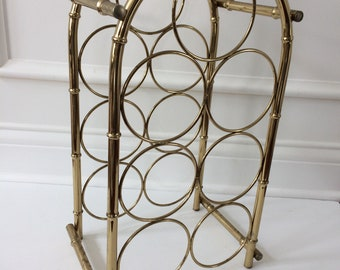 vintage brass bamboo wine rack / Hollywood Regency