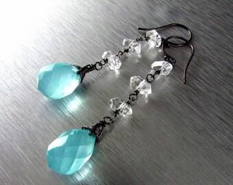 20 % Rabatt auf Aqua Türkis Blau Quarz mit Herkimer Diamanten oxidiert Sterling Silberohrringe