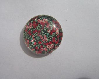 Glass cabochon round 20 mm with red and green flowers liberty image
