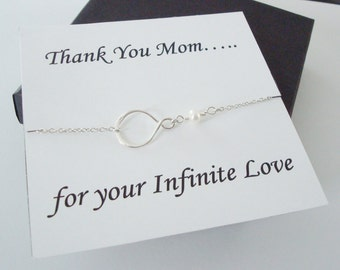 Eternity Infinity Charm with White Pearl Necklace ~~Personalized Jewelry Card for Mom, Mother in Law, Mother of Groom, Step Mom, Thank You