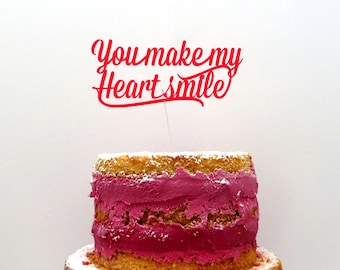 Cake topper - You make my heart smile - Wedding