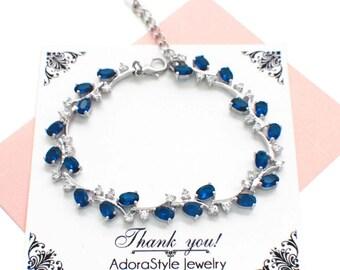 Blue bridal jewelry, sapphire blue bracelet, something blue, navy blue bracelet, cubic zirconia bracelet, blue crystal wedding bracelet