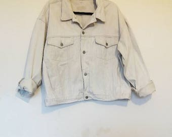 White Denim Jacket Vintage Corduroy Collar Jacket Off White Denim Jacket Women's Oversize Denim Jacket Corduroy Collar Men's XL Denim Jacket