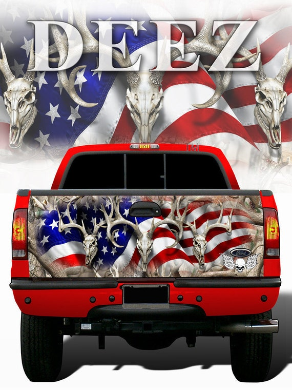 American Flag Camouflage Tailgate Wrap Camo Wraps W Skulls