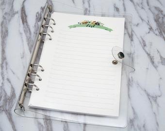 A5  Planner Binder, A5 Clear Plastic Binder planner cover/ 6 ring binder, refillable planner, travel journal, planner organizer A6
