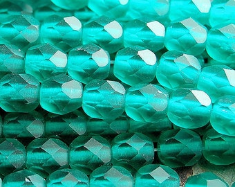 Matte Emerald Green Czech Frosted Faceted Glass Bead 6mm Round - 25 Pc