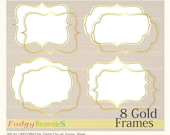 ON SALE Digital Gold FrameGold Bracket Frame Clipart Scrapbooking Frames A