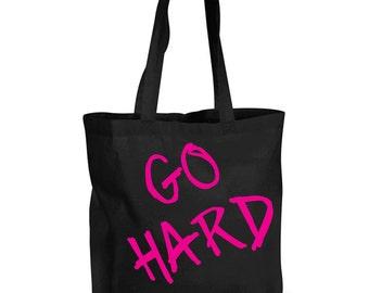 Go Hard Training Bag Shopping Bag Reusable Black Shopper Gym Bag
