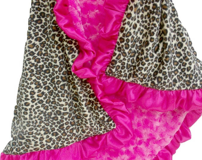 Minky Baby Blanket in Pink Leopard Animal Print - Cheetah Minky Baby Blanket - Pink and Brown Minky Baby Blanket - Satin Ruffle Blanket