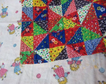 cute calico and flannel doll blanket