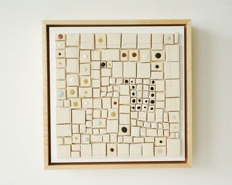 COMMON GROUND Ceramic wall piece.  Modern art by artist Tina Schowalter.  Mosaic wall art.  Minimalist mid century modern home decor art