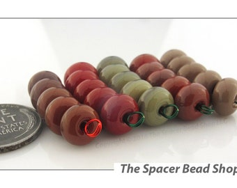 MAPLE LEAVES Red Green HALF Bead Sets Lampwork Spacers Glass Handmade - The Spacer Bead Shop