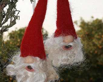 Gnome Ornaments/Needle Felted Gnome/Wool Felt Gnome/Christmas Tree Ornaments/Stocking Stuffers/Holiday Decor/Christmas Gnome/Holiday Gnom