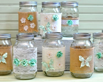 CLEARANACE 20% off! Set of 10 Mason Jars Bulk- Wedding Decor Event Decor Mint Mason Jars