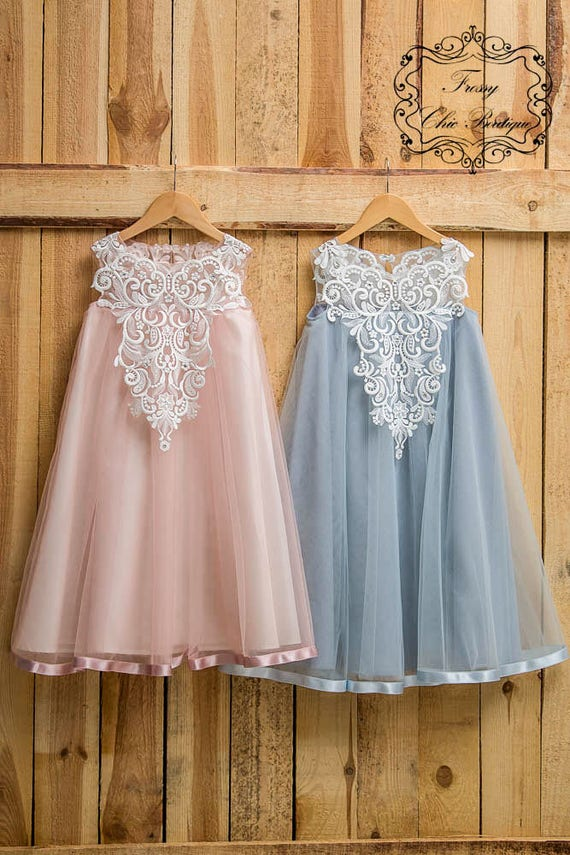 Dusty Pink Dress Girl Rustic Powder Country Flower