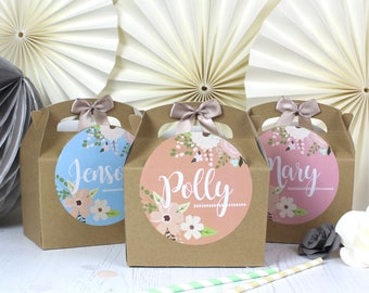 Personalised Childrens Activity Party Favour Gift Box   KRAFT GARDEN ROSE   Wedding Birthday Party Gift Bag with Bow