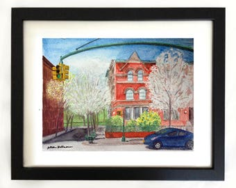 """Art Print of """"Spring on 115th Street"""" Harlem NYC Watercolor Painting"""