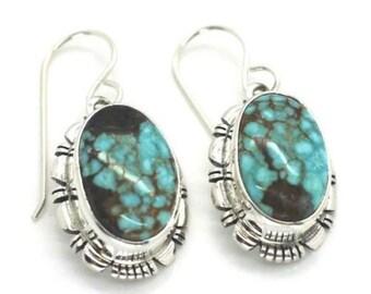 Navajo Handmade Sterling Silver Number 8 Turquoise Earrings- Jeffery Frank
