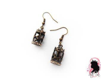 Antique Bronze Carousel Earrings, Bronze Merry Go-Round Earrings, Diamante Carousel Earrings, Diamante Merry Go-Round Earrings, Bronze Horse