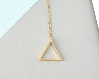 Large Single Metal Triangle Necklace (Gold) - Minimalist Geometric Jewellery