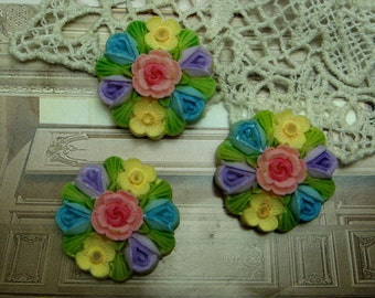 4pcs ( 28mm) Round  Cameo  Colourful,-Hand Painted (FCN-1214)