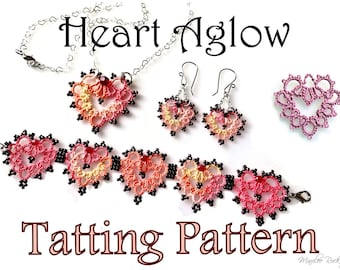 "Tatting Pattern ""Heart Aglow"" for pendant earrings and bracelet PDF pattern Instant Download"