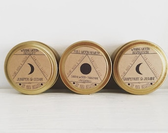 Moon Phase Candle Bundle || 3 candles || Waning Moon, Full Moon, Waxing Moon candles || Moon phases, Phases of the moon, Moon gifts, Moons