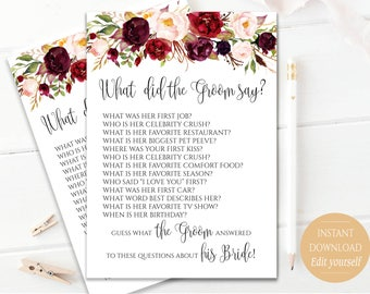 EDITABLE What did the Groom Say Game What did groom say about Bride How well couple know each other Couples shower Game Bridal Boho Chic
