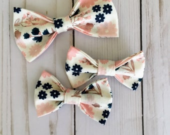 Summer Floral Fabric Bow and Soft Nylon Headband