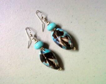 Brown and Aqua Shell Earrings (1437)