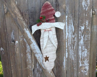 Christmas Decor, Primitive Santa, Wood Santa, Primitive Wood Santa, Wooden Santa, Primitive Holiday Decor, Primitives, Country Primitive